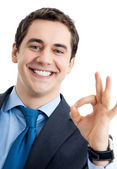 Businessman with okay gesture, isolated — Stock Photo