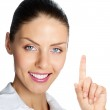 Cheerful businesswoman showing, over white — Stock Photo