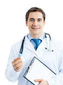 Happy smiling doctor with medicament and clipboard, isolated — Stock Photo