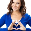 Woman showing heart symbol gesture, isolated — Stock Photo #20997107