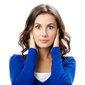 Woman covering with hands her ears, isolated — Stock Photo