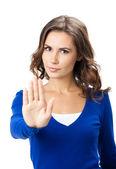 Femme sérieuse avec arrêt geste, isolé — Photo