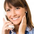 Happy smiling successful business woman with phone — Stock Photo