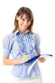 Kobieta pisze na dokumentach, na białym tle — Zdjęcie stockowe