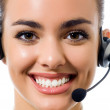 Support phone operator in headset, isolated — Stock Photo #21702827