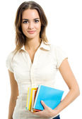 Young smiling woman with textbooks, isolated — Stock Photo