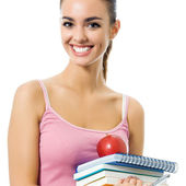 Young woman with notebooks, isolated — Stock Photo