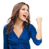 Glad gestikulerande affärskvinna, på vitt — Stockfoto