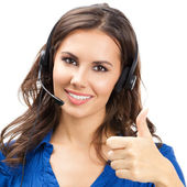 Support phone operator with thumbs up gesture — Stock Photo