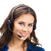 Support telefon operatör i headset, isolerade — Stockfoto