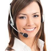 Portrait of happy smiling cheerful support phone operator in hea — Stock Photo