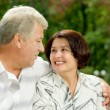 Senior happy couple embracing, outdoors — Stock Photo #23602107