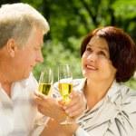 Senior couple celebrating with champagne, outdoors — Stock Photo