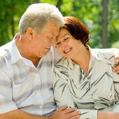 Senior happy couple embracing, outdoors — Stock Photo