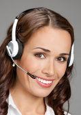 Support-telefon-betreiber im headset, auf grau — Stockfoto