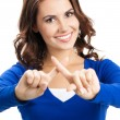 Young woman with stop gesture, isolated - Stock Photo