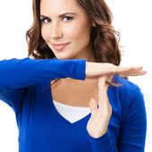Woman showing heart symbol gesture, isolated — Stock Photo
