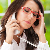 Thinking, tired or ill with headache businesswoman — Stock Photo