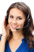 Support-telefon-betreiber im headset, isoliert — Stockfoto