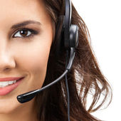 Support phone operator in headset, isolated — Stok fotoğraf