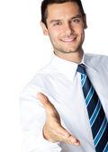 Geschäftsmann, welche hand für handshake, isoliert — Stockfoto