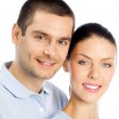 Young happy smiling couple, isolated — Stock Photo