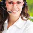 Support phone operator in headset — Stock Photo