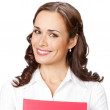 Smiling businesswoman with red folder, on white — Stock Photo #28459799