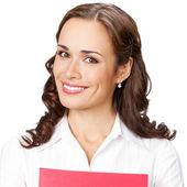 Smiling businesswoman with red folder, on white — Stock Photo