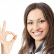 Doctor with okay gesture, over white — Stock Photo