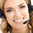 Support phone operator in headset, isolated — Stock Photo #29421247