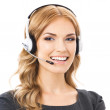 Support phone operator in headset, isolated — Stock Photo #29708105