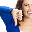 Woman showing thumbs down gesture, isolated — Stock Photo #29814739