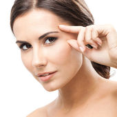 女性に触れる皮膚または分離、クリームを適用します。 — ストック写真