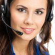Support phone operator in headset, isolated — Stock Photo #30340629