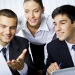 Three businesspeople working at office — Foto de Stock