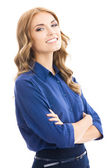 Young cheerful business woman, on white — Foto de Stock