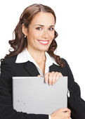 Businesswoman with grey folder, isolated — Stock Photo
