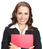 Businesswoman with red folder, isolated — Stock Photo