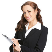 Young businesswoman with clipboard, isolated — Stock Photo