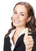 ホワイト上のジェスチャー親指を持つ女性 — ストック写真