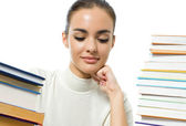 Woman with textbooks, isolated on white — Stock Photo