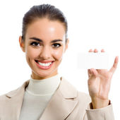 Businesswoman showing blank business card, isolated — Stock Photo