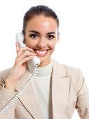 Businesswoman on phone, isolated — Stock Photo