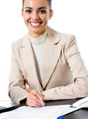 Happy smiling business woman, over white — Stock Photo