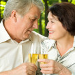 Senior couple celebrating with champagne, outdoors — Stock Photo #31452889