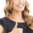 Woman with thumbs up gesture, over white — Stock Photo #32087035