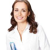 Smiling businesswoman with blue folder, on white — Stock Photo