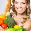 Stock Photo: Woman with vegetarian food