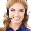 Support phone operator in headset, isolated — Zdjęcie stockowe